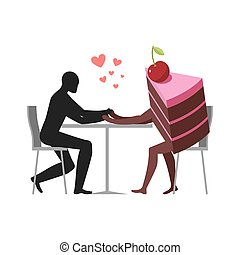 Lover of cakes. Man and piece of cake in cafe. Lovers...
