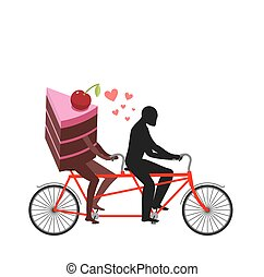 Lover of cakes. Man and piece of cake in Tandem. Lovers...