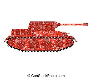 Russian tank Khokhloma painting. Russia military equipment. Traditional folk combat machine