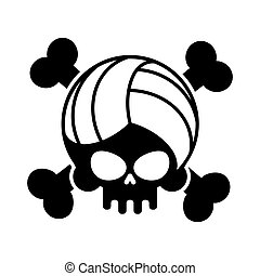 Skull volleyball. Ball is head of skeleton. Emblem for sports fans