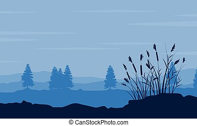 Silhouette of tree and grass on desert scenery