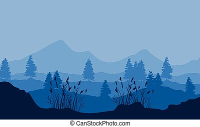 Silhouette of mountain with tree and grass scenery