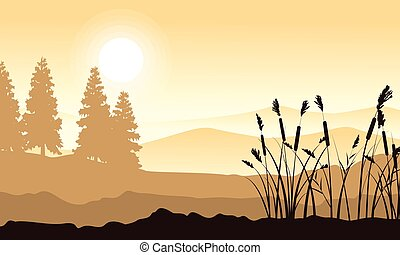 Silhouette of mountain with grass landscape