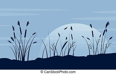 Silhouette of course grass with moon landscape