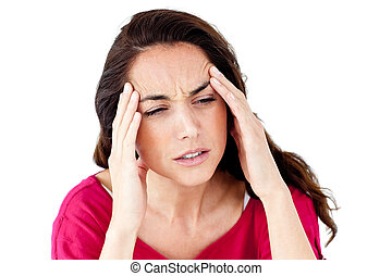 Downcast hispanic woman having a headache