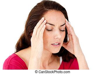 hermoso, hispano, mujer, teniendo, dolor de cabeza