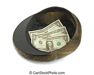 Hat with money, isolated on white background