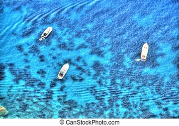 Painted Yachts from Above - Yachts off the island of Capri...