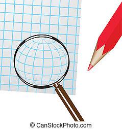 Magnifier, pencil, sheet of paper