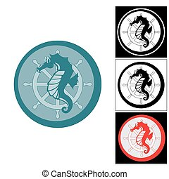 The logo of the seahorse and sea helm