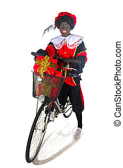 Black Piet with a bike and preents