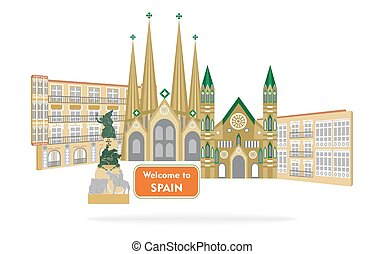 welcome to spain - set of icons in the style of a flat...