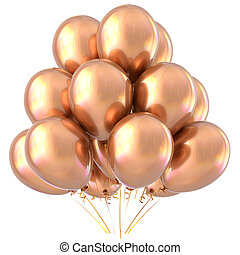 Golden balloons happy birthday party decoration yellow glossy