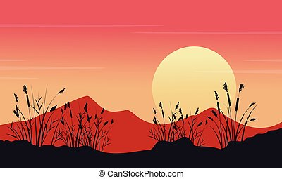 At morning mounatin landscape silhouettes vector art