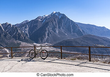 Mountainbike in front of Monte Chiampon - Mountainbike on...