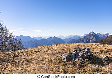 View from Monte San Simeone to Julian Alps in Italy - View...