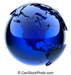 Blue glass globe with frosted continents a little, a little...