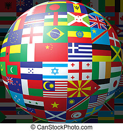 Flag ball - 3D sphere made up of national flags