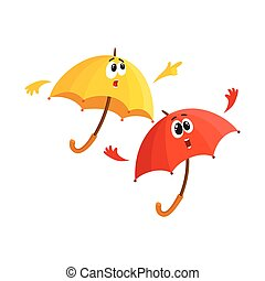 Two umbrella characters - pointing to something with finger...