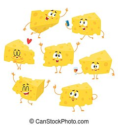 Set of cute and funny cheese chunk character showing different emotions