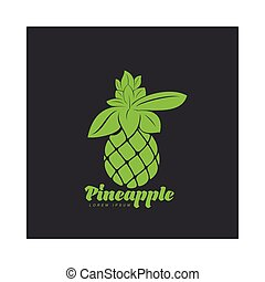 Two tone assymmetric graphic silhouette pineapple logo...