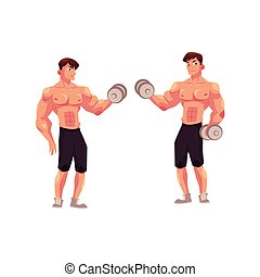 Man bodybuilder, two variants of bicep workout, dumbbell arm...