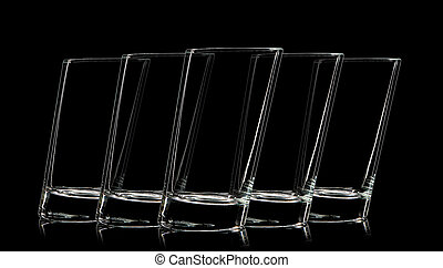 Silhouette of glass for shot on black background.