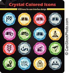 road icon set - road crystal color icons for your design