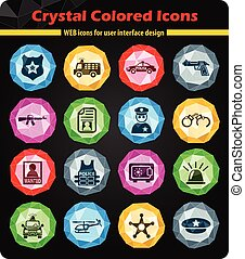 police icon set - police crystal color icons for your design