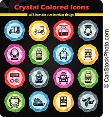 public transport icon set - public transport crystal color...