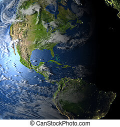 Americas on planet Earth - Americas. 3D illustration with...