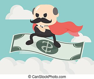 businessman standing on money flying