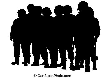 Police men five - People of special police force on white...
