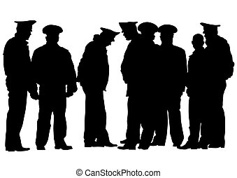Police men three - People of special police force on white...