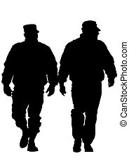 Police men two - People of special police force on white...