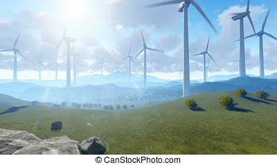 Wind turbine farm over green meadow, rays of light against...