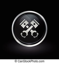 Pistons and conrods icon inside round silver and black...