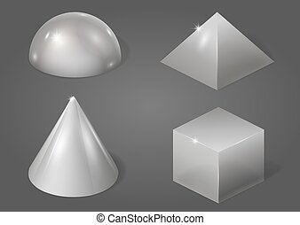 Set of metal forms - Set of different metal shapes. Vector...