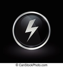 Electric bolt strike icon inside round silver and black...