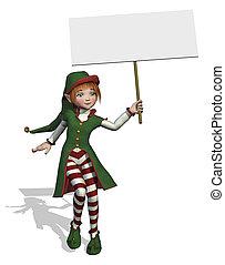 Santa's Elf Holding a Blank Sign - Santa's elf holds a blank...