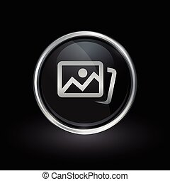 Photo gallery icon inside round silver and black emblem -...