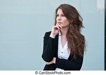 Business person portrait - Young smiling business woman -...