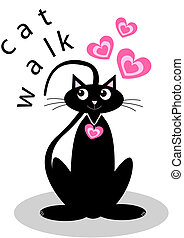 catwalk - illustration of a black cat