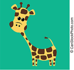 a cute giraffe - illustration of a cute giraffe on green...