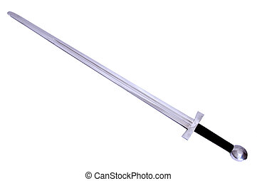 Medieval sword with long edge isolated on a white background