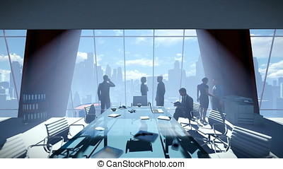 Business People Team, Rear View Cityscape