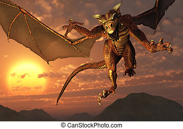 Dragon Flying at Sunset - 3D render of a dragon flying at...