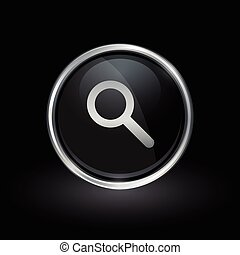 Magnifying glass search icon inside round silver and black emblem