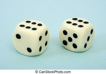 Two dices on blue background