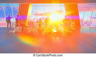 Business team in conference room, rear view sunset, 3d illustration